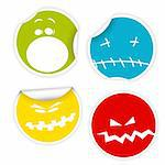 Set of colorful Halloween labels with various smiles Stock Photo - Royalty-Free, Artist: orsonsurf                     , Code: 400-05734343