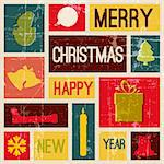 Vector Vintage vector christmas card with various seasonal shapes Stock Photo - Royalty-Free, Artist: orsonsurf                     , Code: 400-05734352