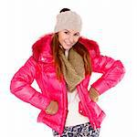 Happy young woman wearing winter jacket scarf and cap Stock Photo - Royalty-Free, Artist: dash                          , Code: 400-05734542