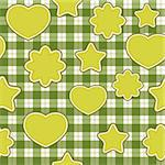 Seamless pattern with green applications on checkered background Stock Photo - Royalty-Free, Artist: Linusy                        , Code: 400-05734792