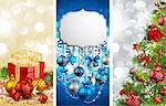 Christmas banners with baubles, fir tree, gift and place for text. Vector illustration. Stock Photo - Royalty-Free, Artist: avian                         , Code: 400-05734800