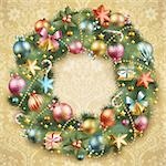 Christmas wreath with baubles and christmas tree. Vector illustration. Stock Photo - Royalty-Free, Artist: avian                         , Code: 400-05734818