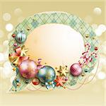 Christmas vintage bubble with baubles and place for text. Vector illustration. Stock Photo - Royalty-Free, Artist: avian                         , Code: 400-05734837