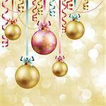 Christmas vintage background with baubles. Vector illustration. Stock Photo - Royalty-Free, Artist: avian                         , Code: 400-05734843