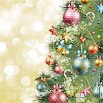 Christmas vintage background with christmas tree and balls. Stock Photo - Royalty-Free, Artist: avian                         , Code: 400-05734847
