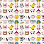 cartoon animal face seamless pattern Stock Photo - Royalty-Free, Artist: notkoo2008                    , Code: 400-05734889