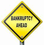 bankruptcy ahead debt relief consulation or restruction liquidation  and financial bankrupt, yellow raod sign warning for foreclosure Stock Photo - Royalty-Free, Artist: kikkerdirk                    , Code: 400-05735386