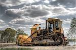 Old yellow bulldozer on nature background Stock Photo - Royalty-Free, Artist: fotodima                      , Code: 400-05736185