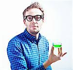 isolated crazy-style  scientist with beaker in his hand Stock Photo - Royalty-Free, Artist: vicnt                         , Code: 400-05736466
