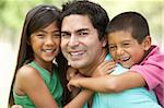 Father With Children In Park Stock Photo - Royalty-Free, Artist: MonkeyBusinessImages          , Code: 400-05736768