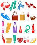 Silhouette set of different woman's things Stock Photo - Royalty-Free, Artist: nurrka                        , Code: 400-05736846