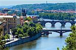 Bridges of Vltava river and Old Town view, Prague, Czech Republic Stock Photo - Royalty-Free, Artist: Yuriy                         , Code: 400-05736889