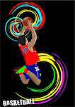 Poster of Basketball player. Colored Vector illustration for designers Stock Photo - Royalty-Free, Artist: leonido                       , Code: 400-05737059