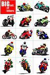 Big set of Bikers on the road. Vector illustration Stock Photo - Royalty-Free, Artist: leonido                       , Code: 400-05737061
