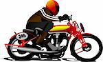 Biker on the road. Vector illustration Stock Photo - Royalty-Free, Artist: leonido                       , Code: 400-05737069