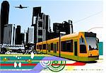Abstract urban hi-tech background with tram on city background. Vector illustration Stock Photo - Royalty-Free, Artist: leonido                       , Code: 400-05737074