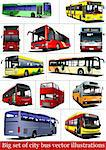 Big set of City buses. Tourist coach. Vector illustration for designers Stock Photo - Royalty-Free, Artist: leonido                       , Code: 400-05737107