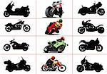Big set of motorcycles. Black and white and color Vector illustrations