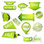 Collection of vector green sale tickets, labels, stamps, stickers, corners, tags on white background Stock Photo - Royalty-Free, Artist: orsonsurf                     , Code: 400-05737309