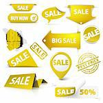 Collection of vector golden yellow sale tickets, labels, stamps, stickers, corners, tags on white background Stock Photo - Royalty-Free, Artist: orsonsurf                     , Code: 400-05737310