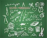 Back to school - set of school doodle vector illustrations on green blackboard Stock Photo - Royalty-Free, Artist: orsonsurf                     , Code: 400-05737315