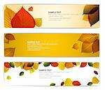 Fresh natural fall vector horizontal banners with leafs and sample text Stock Photo - Royalty-Free, Artist: orsonsurf                     , Code: 400-05737321