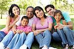 Portrait Of Extended Family Group In Park Stock Photo - Royalty-Free, Artist: MonkeyBusinessImages          , Code: 400-05737797