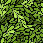 Dark seamless pattern with green leaves (vector) Stock Photo - Royalty-Free, Artist: OlgaDrozd                     , Code: 400-05738164