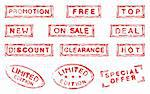 Set of twelve commercial grungy ink stamps Stock Photo - Royalty-Free, Artist: lupobianco                    , Code: 400-05738504