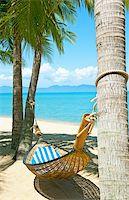 Empty hammock between palms trees at sandy beach Stock Photo - Royalty-Freenull, Code: 400-05738564