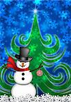 Snowman with Red Scarf and Ornament in Winter Snow Scene with Christmas Tree and Snowflakes Illustration Stock Photo - Royalty-Free, Artist: jpldesigns                    , Code: 400-05739040