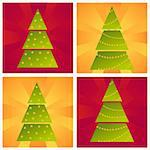 set of 4 christmas trees backgrounds Stock Photo - Royalty-Free, Artist: LxIsabelle                    , Code: 400-05739513