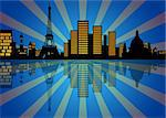 Reflection of New York Manhattan City Skyline at Night Illustration
