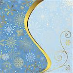 Christmas blue frame with gold wave line and snowflakes (vector EPS 10) Stock Photo - Royalty-Free, Artist: OlgaDrozd                     , Code: 400-05739846