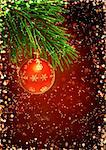 Vertical background with christmas ornament