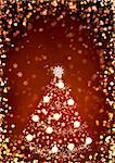 Vertical background of red color with christmas tree Stock Photo - Royalty-Free, Artist: frenta                        , Code: 400-05740201