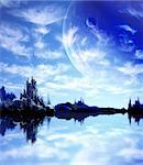 Collage - landscape in fantasy planet Stock Photo - Royalty-Free, Artist: frenta                        , Code: 400-05740202