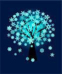 Winter Christmas Glowing Snowflakes on Tree Illustration on Blue Background Stock Photo - Royalty-Free, Artist: jpldesigns                    , Code: 400-05740603