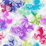 Seamless floral pattern with silhouettes  transparent colorful butterflies (vector EPS 10)