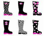 Vector collection of fashion wellies isolated on white.  Stock Photo - Royalty-Free, Artist: lordalea                      , Code: 400-05742157
