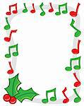 A border made of red and green musical notes with holly in the corner. Stock Photo - Royalty-Free, Artist: JSlavy                        , Code: 400-05742188