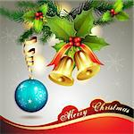 Christmas ball with pine tree and bells Stock Photo - Royalty-Free, Artist: Merlinul                      , Code: 400-05742197