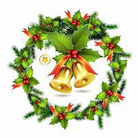 Christmas pine frame and bells Stock Photo - Royalty-Freenull, Code: 400-05742198