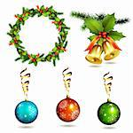 Christmas items, balls, frame pine and bells Stock Photo - Royalty-Free, Artist: Merlinul                      , Code: 400-05742199