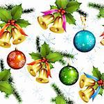Seamless pattern with christmas balls and bells Stock Photo - Royalty-Free, Artist: Merlinul                      , Code: 400-05742202