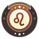 Leo zodiac astrology icon on round red and brown imperial vector button with star accents suitable for use on website, in print and promotional materials, and for advertising. Stock Photo - Royalty-Free, Artist: lhfgraphics                   , Code: 400-05742309