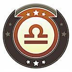 Libra zodiac astrology icon on round red and brown imperial vector button with star accents suitable for use on website, in print and promotional materials, and for advertising. Stock Photo - Royalty-Free, Artist: lhfgraphics                   , Code: 400-05742310