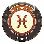 Pisces zodiac astrology icon on round red and brown imperial vector button with star accents suitable for use on website, in print and promotional materials, and for advertising. Stock Photo - Royalty-Free, Artist: lhfgraphics                   , Code: 400-05742311