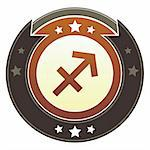 Sagittarius zodiac astrology icon on round red and brown imperial vector button with star accents suitable for use on website, in print and promotional materials, and for advertising. Stock Photo - Royalty-Free, Artist: lhfgraphics                   , Code: 400-05742312
