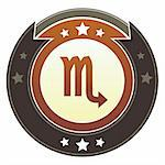 Scorpio zodiac astrology icon on round red and brown imperial vector button with star accents suitable for use on website, in print and promotional materials, and for advertising. Stock Photo - Royalty-Free, Artist: lhfgraphics                   , Code: 400-05742313